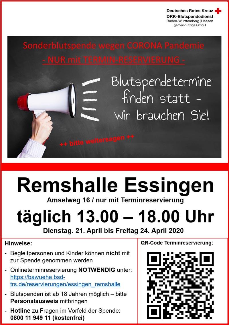 Plakat Sonder-Blutspende April 2020
