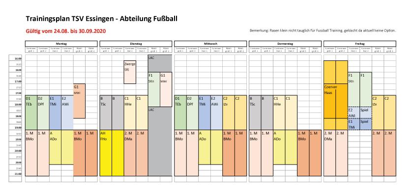 Fussball Trainingsplan September 2020